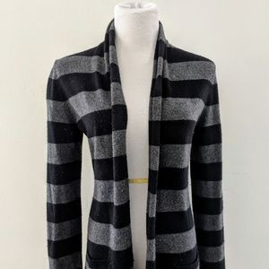 Gray and Black Striped Long Theory Sweater